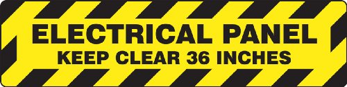 Accuform PSR277 Slip-Gard Adhesive Vinyl Step-Style Floor Sign, Legend''ELECTRICAL PANEL KEEP CLEAR 36 INCHES'', 6'' Length x 24'' Width, Black on Yellow by Accuform
