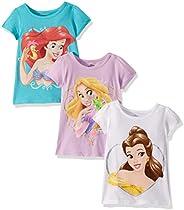 Disney Girls' Princesses Ariel, Belle, Rapunzel 3-Pack Big Face T-Shirt
