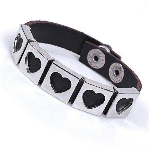 Price comparison product image Winter's Secret Love Alloy Agio Black Leather Button Adjustable Length Fashion Bracelet