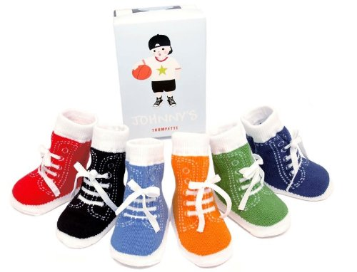 Amazon.com: Trumpette Johnny's Sneaker 6 Pair Socks Set, Brights ...