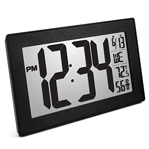 Marathon Atomic Self-Setting Self-Adjusting Wall Clock w/Stand & 8 timezones - Batteries Included (Black/Black Stainless Steel) ()