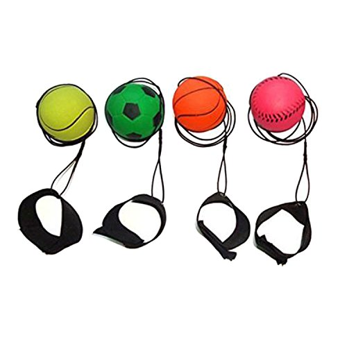 ZUYEE Wrist Band Ball Rubber High Bounce with Velcro Wrist & Elastic String Rebound Bouncy Balls On String for Finger Stiffness Relief Wrist Exercise,Children Gift Sport Toy Balls