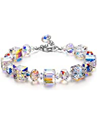 LADY COLOUR Bracelet A Little Romance Series Adjustable 7-9 in Bracelet Made with Swarovski Crystals, Buy One Get Lucky Clover Necklace, Add B07MBQ2G6H to Cart Together