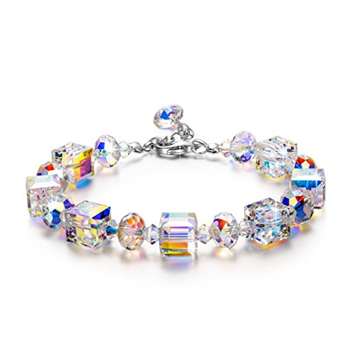 LADY COLOUR Bracelet for Women Colorful Adjustable Bangle with Swarovski Aurore Boreale Crystals Fashion Costume Jewelry Brithday Prensent Wife Her Girls Girlfriend Mom Mother Lady