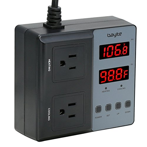 Temperature Controller bayite BTC201 Pre-Wired Digital Outlet Thermostat, 2 Stage Heating and Cooling Mode, 110V - 240V 10A