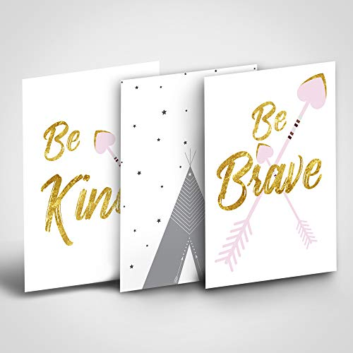 "Boho Baby Girl Wall Décor, Woodland Nursery Wall Art, Baby Shower Gift Idea in Pink Gold and Gray,Nursery & Children Room Art Prints - Set of 3, Heart Arrows Playroom Décor 8""x12"" Unframed"