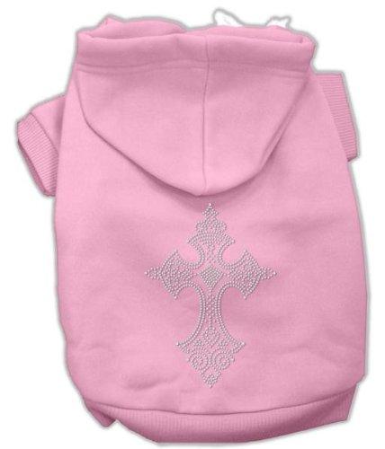 Mirage Pet Products 14-Inch Rhinestone Cross Hoodies, Large, Pink