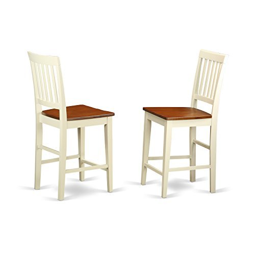 East West Furniture VNS-WHI-W Counter Height Stool Set with Wood Seat, Buttermilk/Cherry Finish, Set of 2