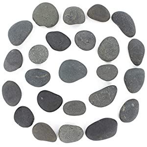24 Rocks for Painting – Flat & Smooth Kindness Rocks for Arts, Crafts, and Decoration – Stones w/Easy Paint Surface – 2 to 3.5 inches – Set of 24 – Black