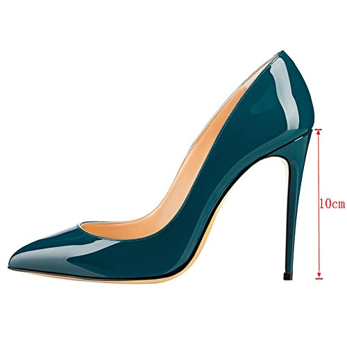 MERUMOTE Womens Gradient Pointed Toe Stiletto High Heel Patent Leather Elegant Dress Party Pumps Teal-patent Ak5t3TMXn