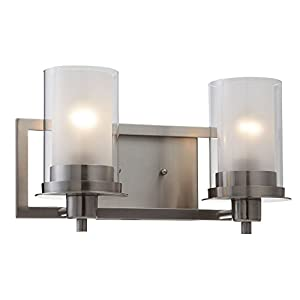 Designers Impressions Juno Satin Nickel 2 Light Wall Sconce/Bathroom Fixture with Clear and Frosted Glass: 73469