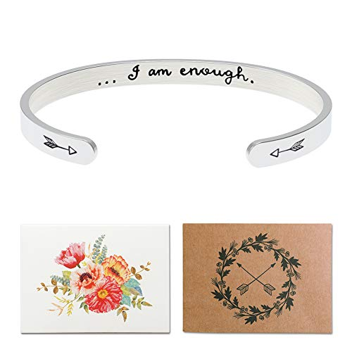 I Am Enough Inspirational Cuff Bracelet Best Gifts for Women,Personalized Mantra Jewelry, Message Quote Engraved Bangle,Motivational Friendship Gifts for Her (I What Bracelet Am I Am)