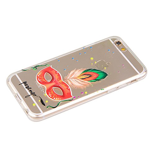 Funda para iPhone 6 Plus / 6s Plus, funda de silicona transparente para iPhone 6 Plus / 6s Plus, iPhone 6 Plus / 6s Plus Case Cover Skin Shell Carcasa Funda, Ukayfe caso de la cubierta de la caja prot Masque orange