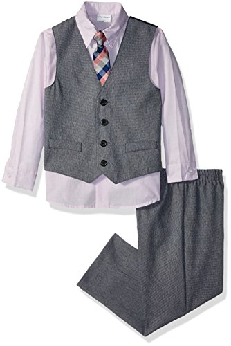 Van Heusen Toddler Boys' Patterned Four-Piece Vest Set, Tanzanite Slub, 2T by Van Heusen