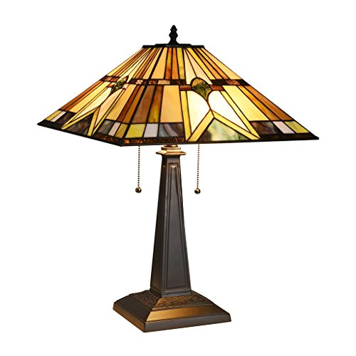 - Docheer Tiffany-Style Mission 2 Light Table Lamp W16.1