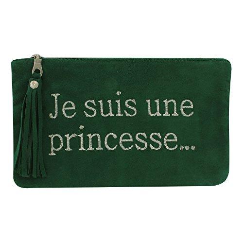 Tasche Wildleder Bestickte Je suis une Princesse Farbe Grüne Tanne