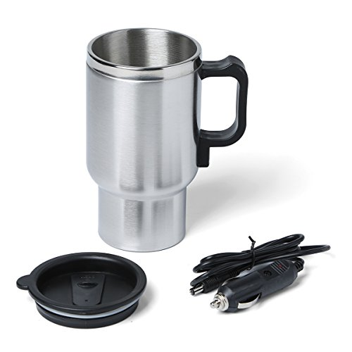 Car Coffee Cup Warmer Heater Stainless Steel 450Ml Travel Thermo Car Charger Heating