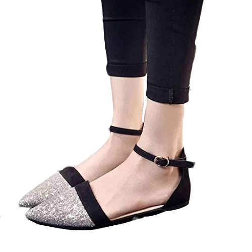 Elevin(TM)New Women Fashion Leisure Leather Soft Loafers Flats Lace-up Shoes Sandal Black