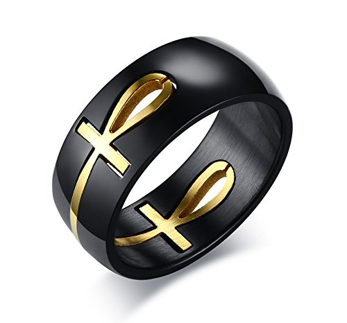 PJ Jewelry Black&Gold Plated Stainless Steel Egyptian Key of Life Ankh Cross Puzzle Ring for -