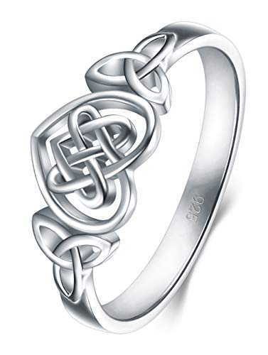 BORUO 925 Sterling Silver Ring Celtic Knot Heart High Polish Tarnish Resistant Eternity Wedding Band Stackable Ring Size 6.5 (Men Sterling Silver Size 7 Ring)