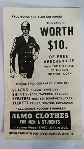 Vintage Original ALMO CLOTHES Kamms Plaza Cleveland Ohio Clothier Advertising Postcard