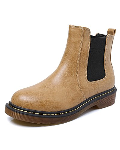 Maybest Womens Ladies Round Toe Chelsea Low Block Heel Winter Leather Comfort Ankle Boots Yellow 4 B (M) (Mod Chelsea Boots)