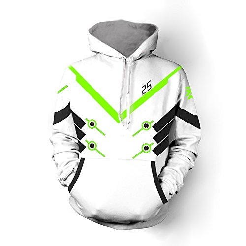 Rulercosplay Overwatch Fashion Hoodie Monster Genji Black Hoodie Cosplay Costume (M, White)