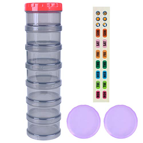 7 Day Pill Organizer Case Stackable Weekly Supplements Vitamins Pills Holder Dispenser Extra Large Translucent Black with Label and 2 More Lids (Top Stackable)