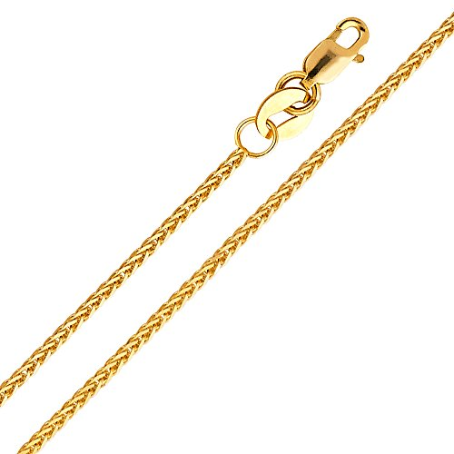 14k Yellow or White Gold 1mm Braided Square Wheat Chain Necklace with Lobster Claw Clasp