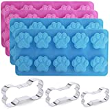 4 Packs Silicone Dog Paw Mold and 3 Packs Stainless Steel Bone Cookie Cutter, SourceTon Assorted Sizes Dog Bone Biscuit Cookie for Homemade Treats and Cat Animal Paw Ice Candy Chocolate Baking Mold