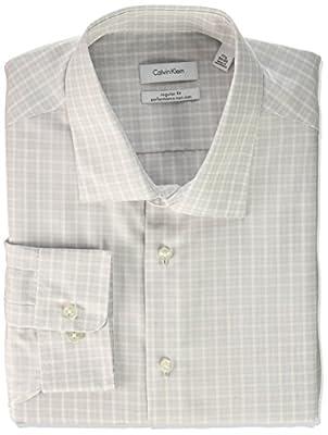 Calvin Klein Men's Non Iorn Regular Fit Plaid Spread Collar Dress Shirt