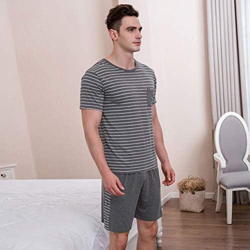 メンズパジャマセット半袖クルーネックパジャマ竹繊維ナイトウェア快適なラウンジウェアストライプパジャマ,グレー,S