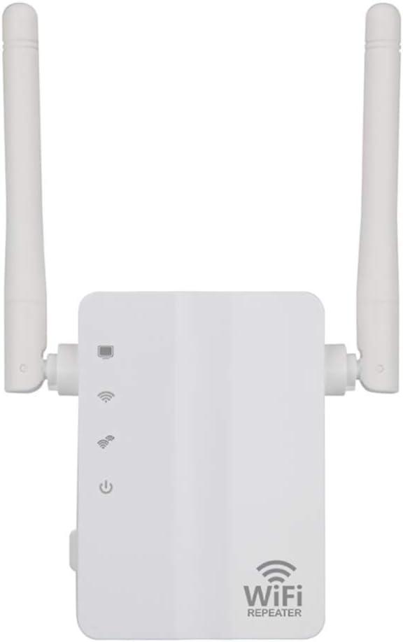 DRAGZJQ 300 Mbps Extensor de Alcance,Conecta Y Reproduce Repetidores,con 2 Antenas Externas Amplificador de Señal Wifi,Amplificador Booster,Wps 802.11Ac / blanco / 90x52x140mm