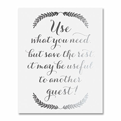 Wedding Reception Ladies Bathroom Artwork Print Help Yourself Sign Women's Restroom Basket Signage Guest Supplies Wall Hanging or Tabletop Small Art Poster Silver Foil on White 5 x 7 Inches F15