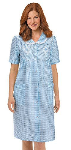 Collections Women's Etc. Gingham Women's Robe with Floral Accents, Snap-Front Closure and Lace Trim, Blue, -