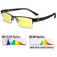 ⭐ KLIM Optics Blue Light Blocking Glasses - High protection for screen - Blue Blocker Gaming Glasses PC Mobile TV - Anti Eye Fatigue Anti UV Blue Light - Blue Lights Filters Computer & Reading Glasses