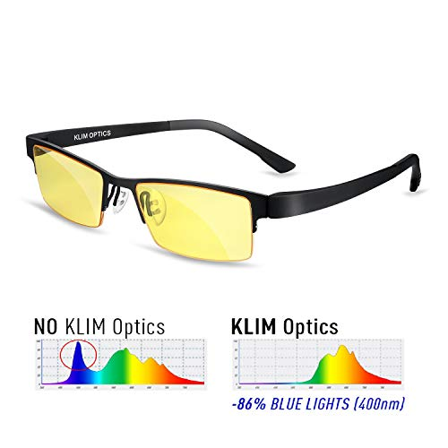 KLIM Optics - Blue Light Blocking Glasses - Reduce Eye Strain and Fatigue - Blue Blocker Gaming Glasses PC Gamer Mobile TV - High Protection for Screens and UV - ()