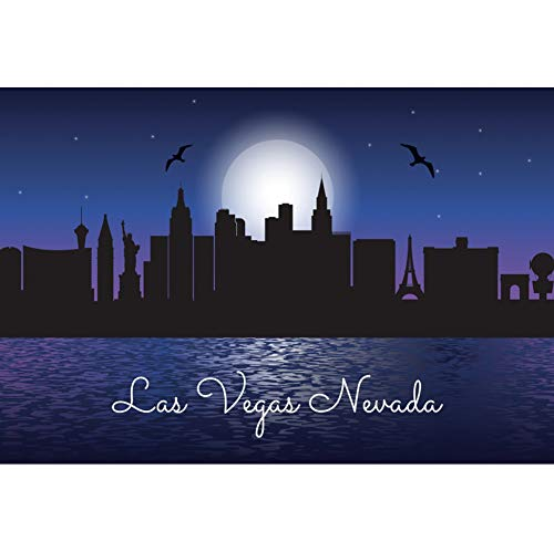 Boulevard 3 Halloween Party (AOFOTO 5x3ft Las Vegas Nevada Backdrop Full Moon City Night Halloween Party Decorations Famous Buildings Silhouette Mansions Flying Bats Background for Photography Photo Studio Props Vinyl)