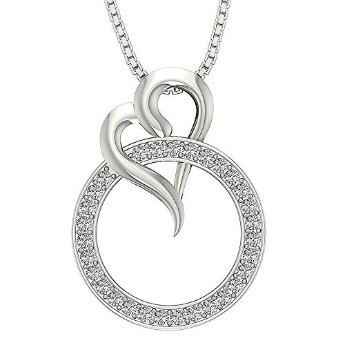 14K White Gold Plated .925 Silver Circle Heart Pendant For Women's 0.35 Ct Round Cut Simulated Diamond
