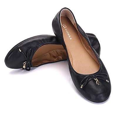 Eureka USA Women's Universe Leather Ballet Flat Black Size: 6.5