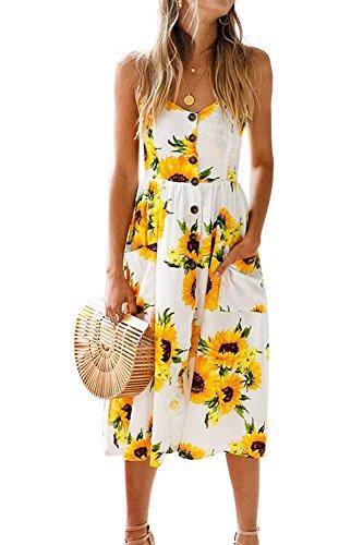 ZOEREA Women's Midi Dress Sundresses for Women Floral Prints Summer Clothing for Women X-Large Beige