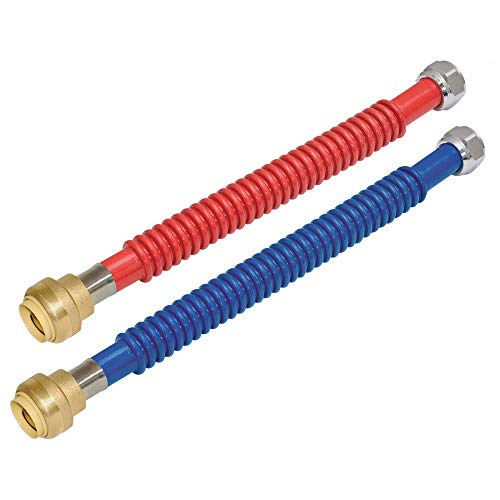 24 Flex Inches Connector Stainless (Eastman 0437324 Stainless Steel Corrugated Water Heater Connectors, Red and Blue Pair, 24