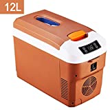 WJSW 12 Liter Portable Refrigerator/Mini Fridge Electric Cooler/Warmer, for Compact Vehicle Car, Truck Party, Travel, Picnic Outdoor, Camping (Color : Brown)