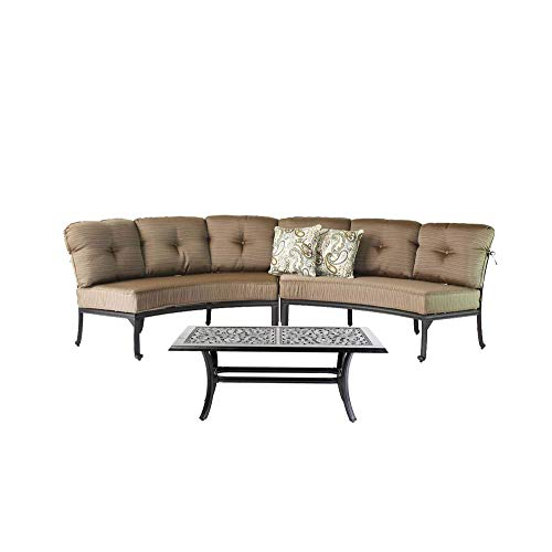 Curved Elisabeth Sofa Cast Aluminum 3pc Deep Seating Circular Patio Set with Coffee -