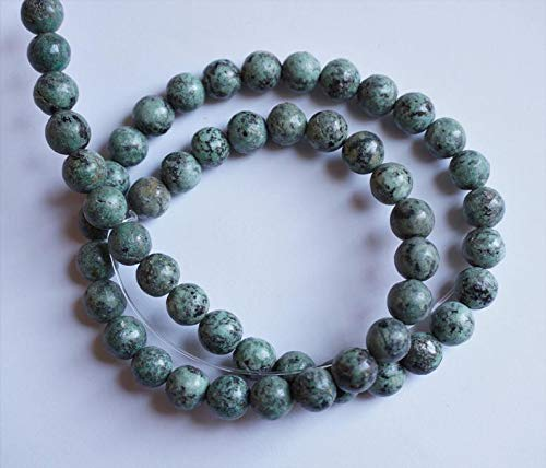 World's Natural Treasures - African Turquoise Round Beads 8mm, Genuine Gemstone Beads, Full Strand 16'' - Huge Selection of Beading Accessories