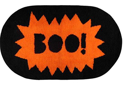 Halloween Decor Boo Throw Bath Rug 20x34 Skid Resistant Oval Mat ()