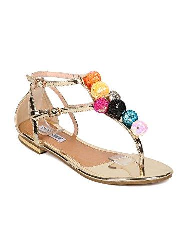 - Cape Robbin Women Metallic Leatherette T-Strap Sequinned Ornament Sandal HJ28 - Gold Metallic (Size: 8.5)