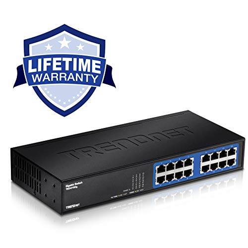 (TRENDnet 16-Port Unmanaged Gigabit GREENnet Desktop Metal Switch, Ethernet Splitter, Ethernet/Network Switch, 16 x 10/100/1000 RJ-45 Ports, 32 Gbps Forwarding Capacity, Lifetime Protection,)