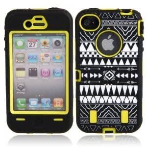 Silicone and Plastic Protective Case with Black Tribe Pattern for iPhone 4/4S Yellow