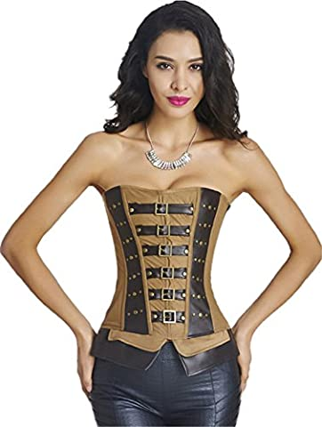 Steampunk Punk Style PU Leather Buckle-up Metal Rivet Studded Corset Top 2XL Brown - Studded Revolution